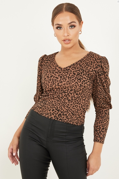 Petite Brown Leopard Puff Sleeve Top